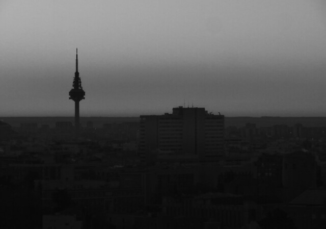 Madrid TV tower POV Torre Picasso, early morning; Madrid (2017)