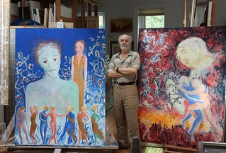 "Thu, 12/21/2017 - 15:01 - Michael Price standing in his studio with his ""Resurrection Adventures"" work in progress"