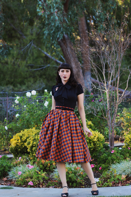Heart of Haute Estelle Top in Black Retrolicious Madison Skirt in Orange Plaid