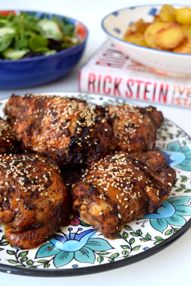Oven-roasted Chicken with Sumac, Pomegranate Molasses, Chilli and Sesame Seeds #chicken #middleeastern #turkish #rickstein #dinner #chickenthighs