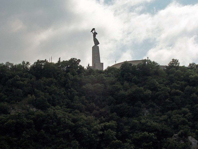 Liberation statue on the Citadel hill overlooking the Danube River in Budapest Hungary.