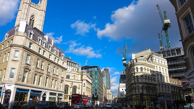 London blue sky cold winter wind