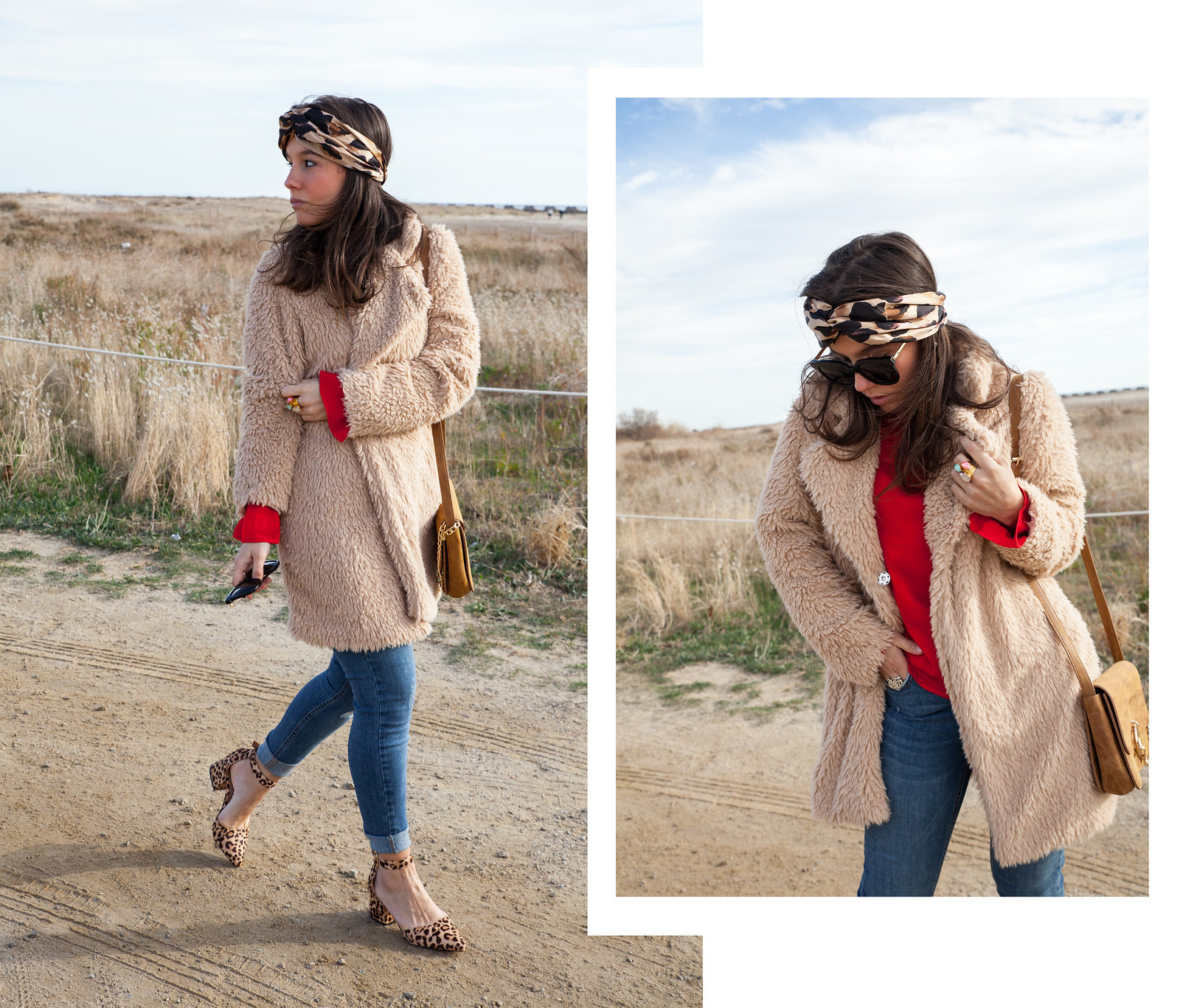 red and leopard inspiration outfit loavies red blouse theguestgirl fashion influencer jeans denim teddy coat maggie co