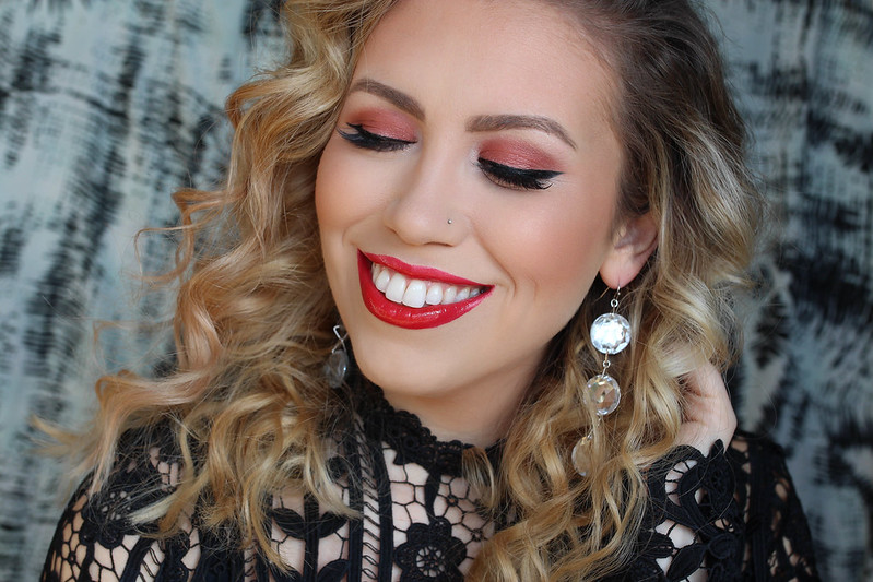 Red Monochromatic Makeup Look Tutorial Holiday Christmas
