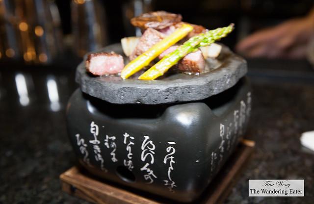 Miyazaki A5 Rank Wagyu with asparagus, onions and shiitake mushroom