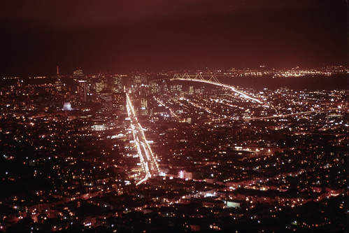Market Street at Night from Twin Peaks - Kodachrome - 1992 (1)