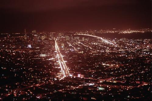 Market Street at Night from Twin Peaks - Kodachrome - 1992 (1)