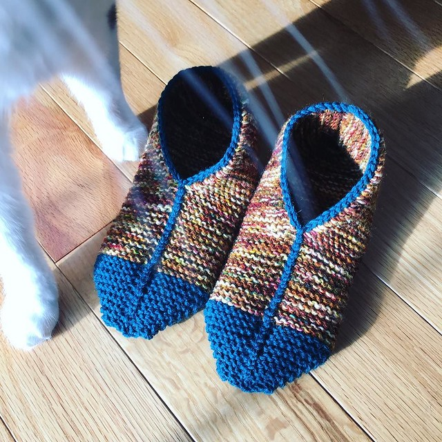 New pair of slippers- stash busting leftover sock yarn. Photobomb by Penny. #simplegarterstitchslippers #knitting #knitslippers
