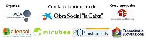 Logos de integrantes del proyecto: Organiza Asociación de Ciencias Ambientales, Colabora Obra Social La Caixa, apoya Ayuntamiento de Azuqueca de Henares, Mirubee, HQH, Cliensol, PCE