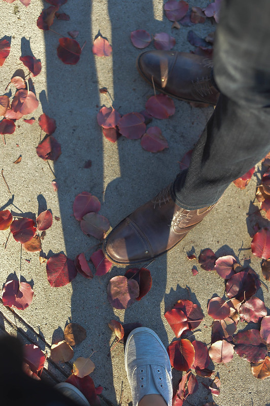 our shoes + red leaves