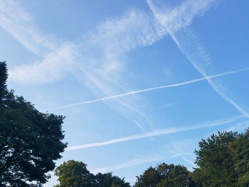 飛行機雲多い