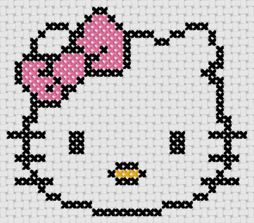 Preview of Cross stitch simple anime: Hello Kitty