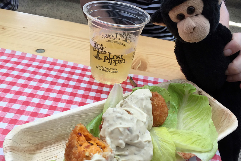 Cider and fried cheese curd balls