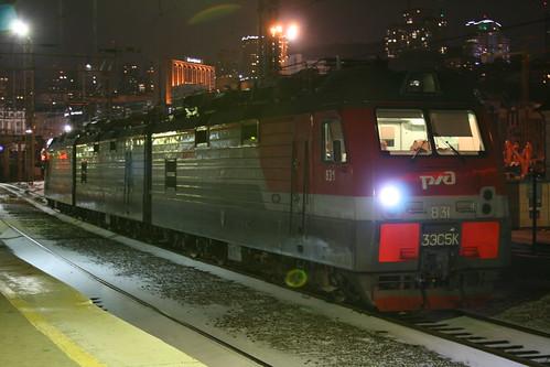 Russian Railways 3ЭС5К series in Vladivostok.Sta, Vladivostok, Primorsky Krai, Russia /Jan 2, 2018