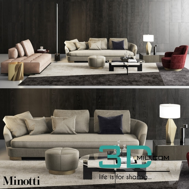 Simple Elegant Minotti grand jacques sofa set 3D Mili Download 3D Model Free 3D Models 3D Model Download Simple - Unique minotti sofa bed New Design