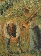 Paysan et paysanne plantant des rames (C Pissarro - PDRS 1464)