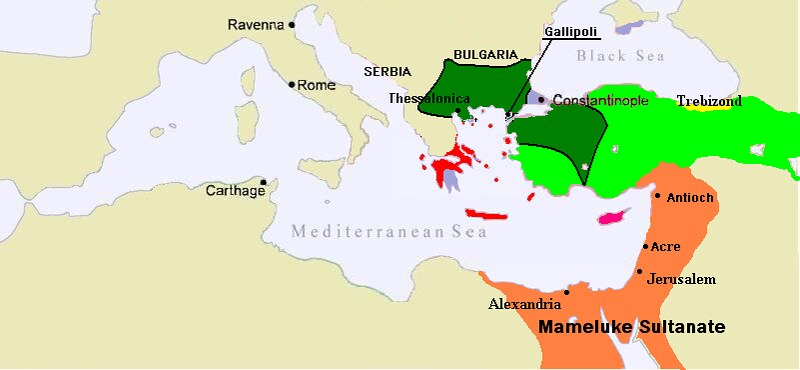Map of the Mamluk Sultanate (orange), under Bahri Mamluks
