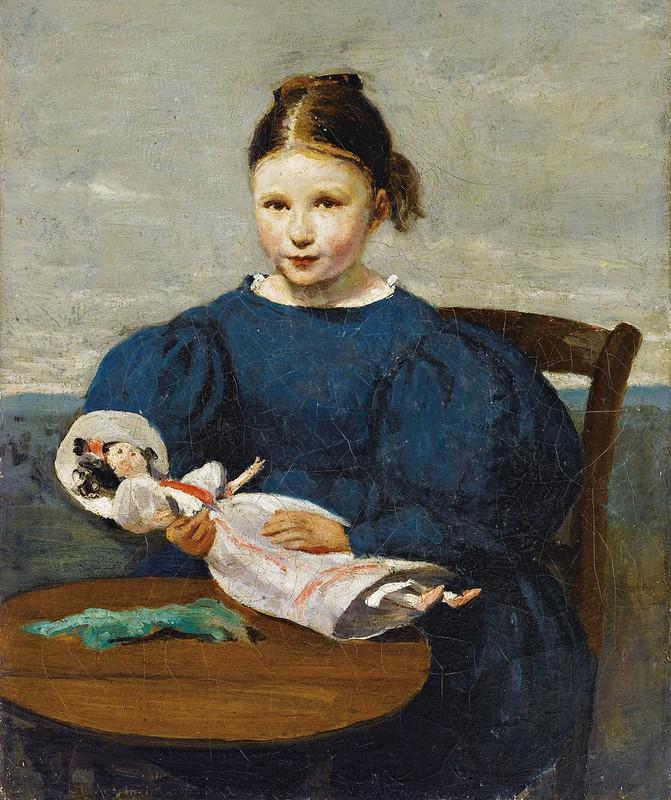 Jean-Baptiste-Camille Corot - Petite fille avec une poupée