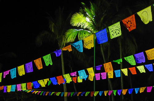 Palm tree & bright paper banners in the Mexican night, Huatalco, Mexico