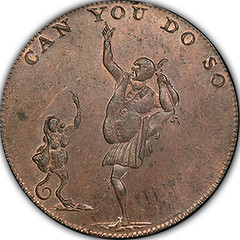 Heslop's Middlesex Halfpenny Token obverse
