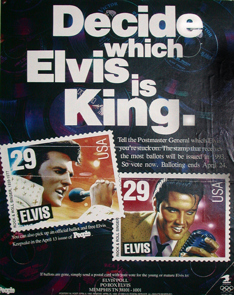 Advertisement in People magazine, announcing the ballots to choose the design for the forthcoming Elvis Presley stamp.