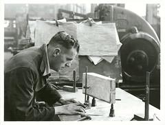 Marking off axle box wedge, Wellington Railway Workshop