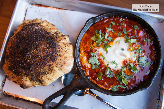 Sundays only special - Shakshuka with za'tar topped pita