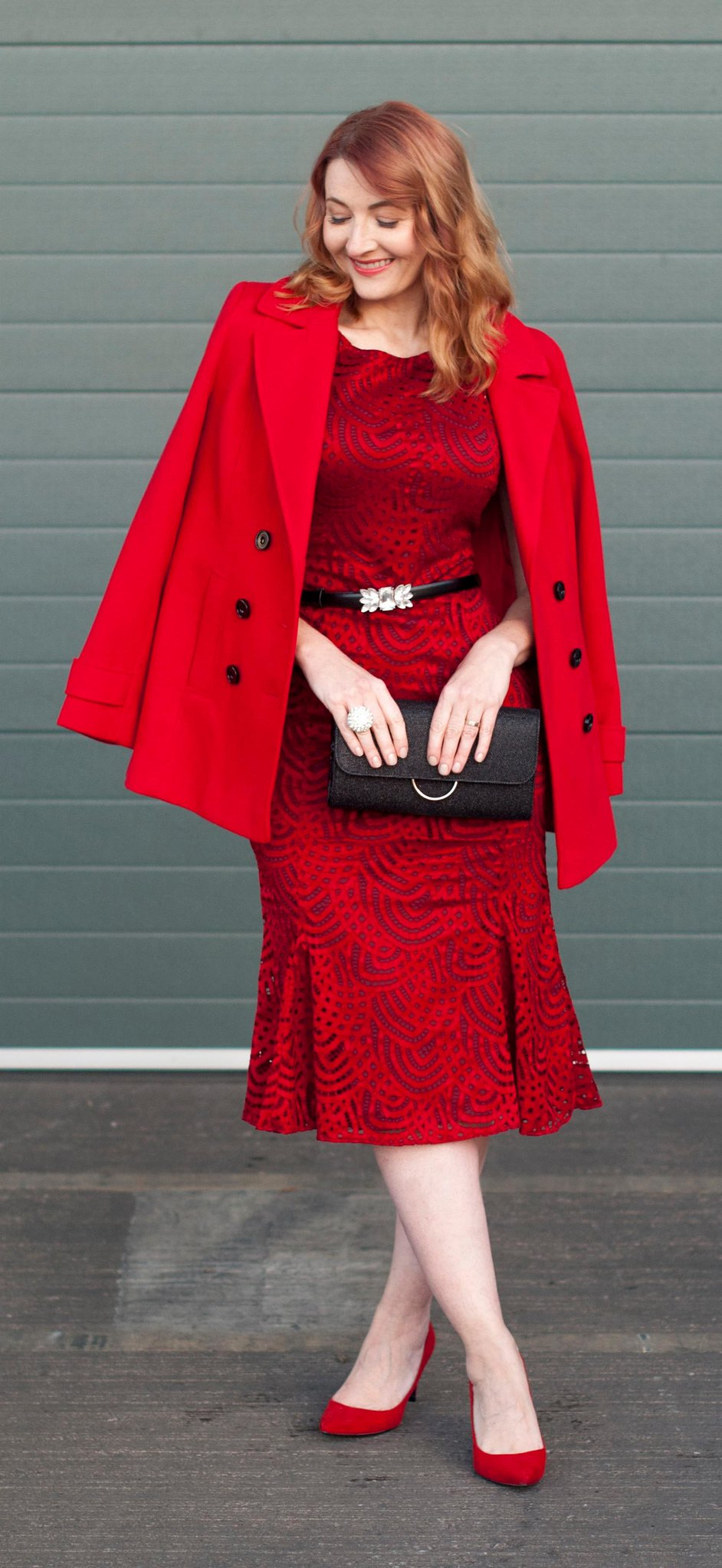 Christmas party or New Year's Eve party outfit - red lace midi dress with red pea coat and red heels | Not Dressed As Lamb, over 40 style