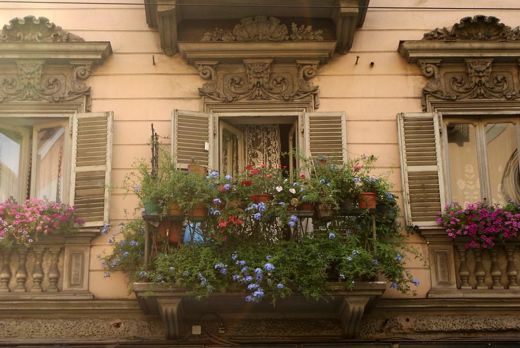 Fenêtre fleurie du coeur de Turin.