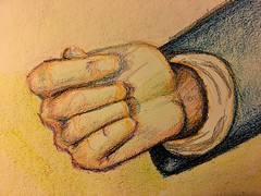 Hand in crayon