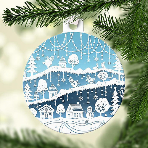 Paper Cut Illustration Christmas Tree Ornament by Sarah Trumbauer