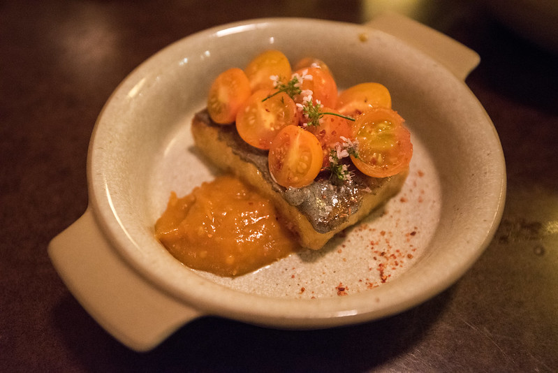 State Bird Provisions- Fillmore District, San Francisco, CA: Sweet Corn Polenta with Tomatoes and Tomato Jam