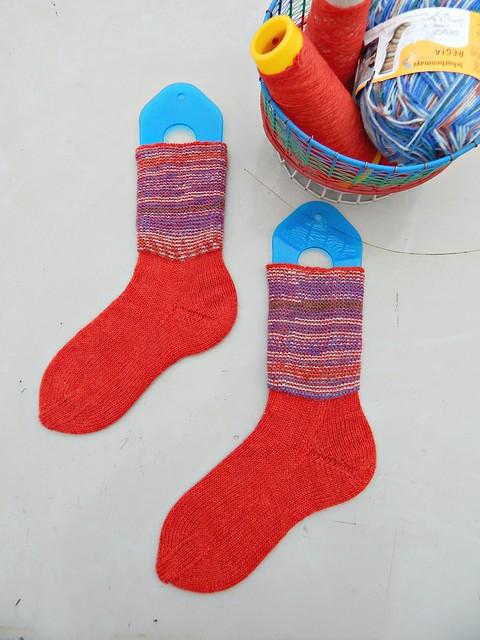 носки с пяткой углублённым бумерангом с клином | short row heel with gusset socks 5