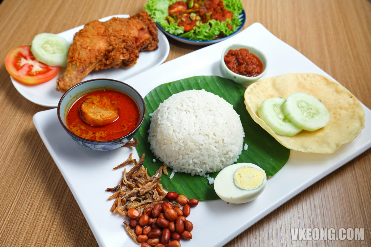 Nasi-Lemak-with-Sambal Petai-Prawn-and-Fried-Chicken-Leg