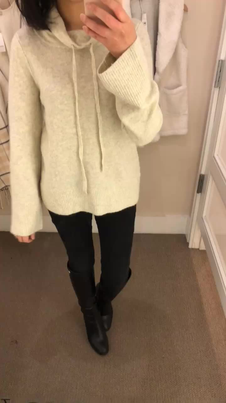 LOFT Boucle Drawstring Sweater, size XS regular