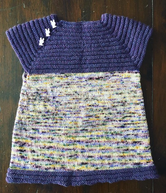 I can finally show off all the handknits I made for my niece. #littlesisterdress #knitting Hopefully this can transition from dress to shirt as she grows.
