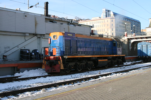 Russian Railways ТЭМ2У series in Vladivostok.Sta, Vladivostok, Primorsky Krai, Russia /Jan 3, 2018