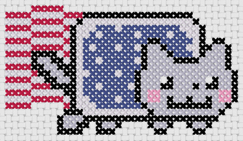 Preview of Cross stitch simple anime: 4th of July Nyan Cat