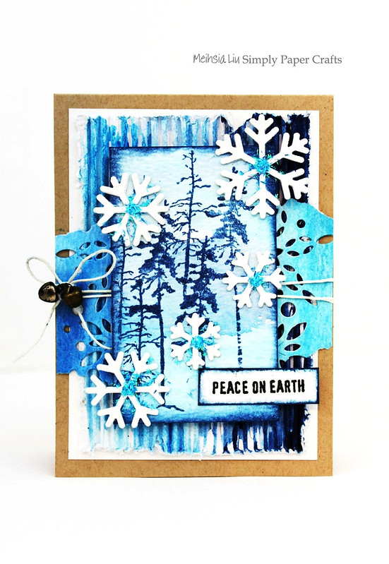 Meihsia Liu Simply Paper Crafts Mixed Media Card Winter Blues Simon Says Stamp Tim Holtz 1