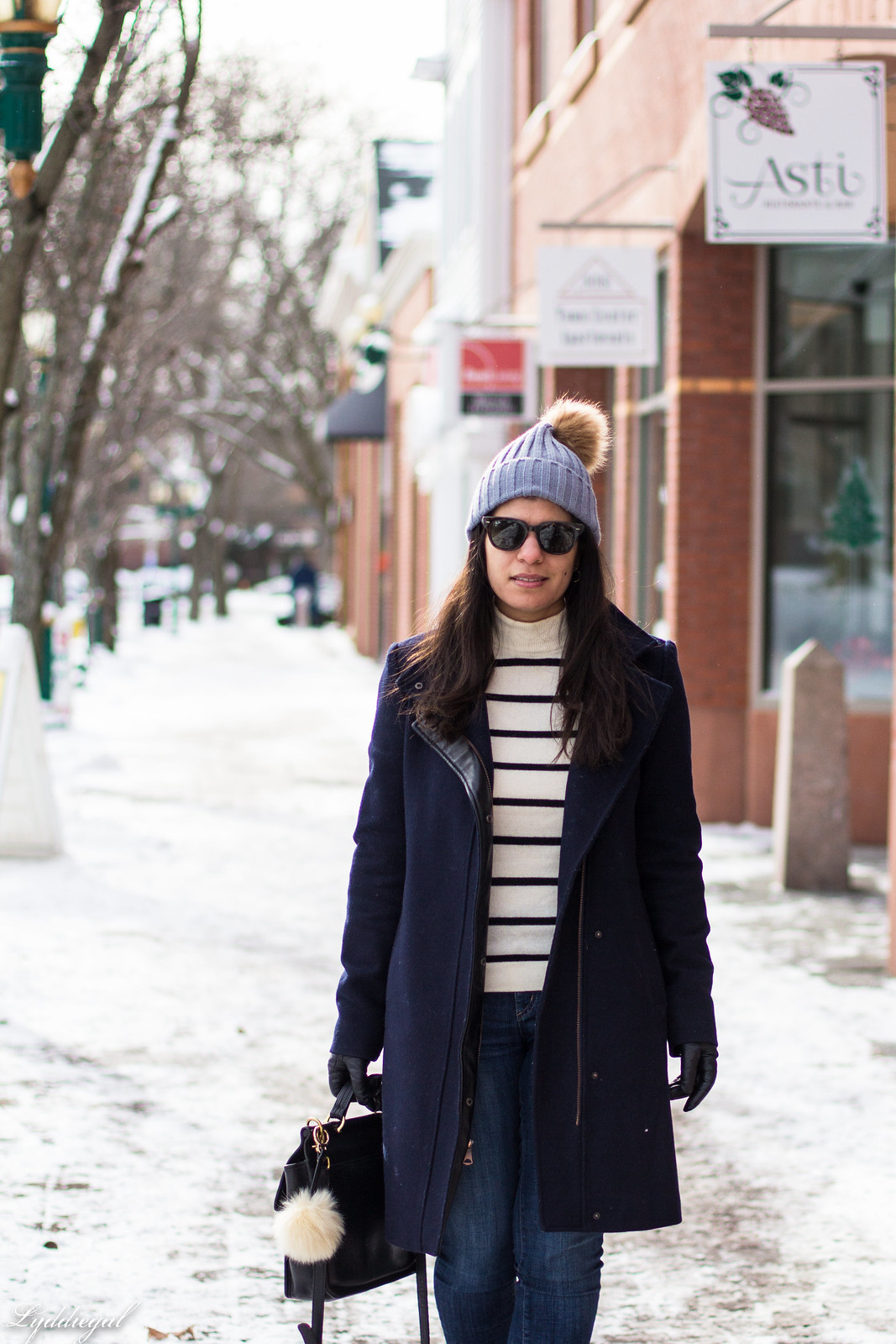 striped sweater, navy wool coat, pom pom hat, coach willis bag-15.jpg