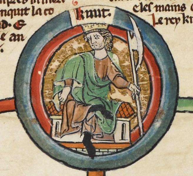 Cnut, king of England, Denmark, and Norway, in medieval miniature