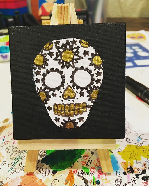 New tiny sugar skull painting in progress, for my cousin Erika.