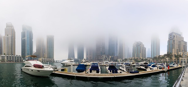 A very foggy day in #Dubai #Marina.