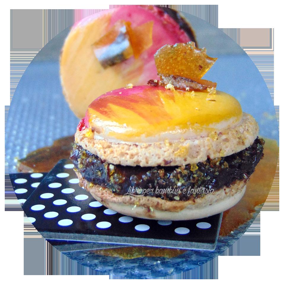 Macarons cioccolato, caramello e bacon caramellato