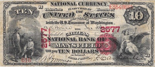 Mansfield Ohio $10 National Currency note