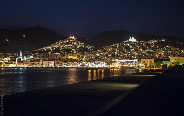Hermoupolis by night