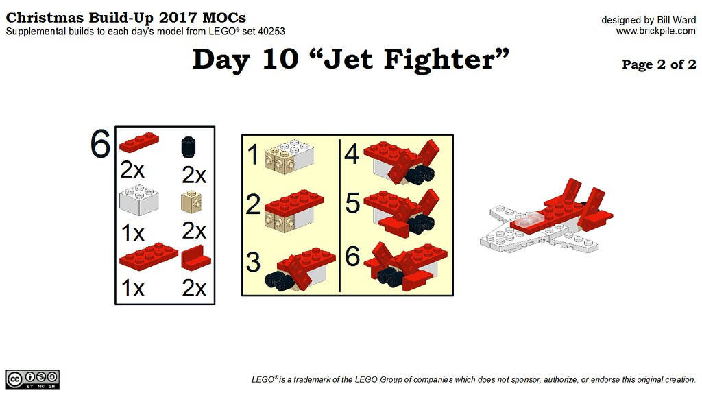 "Christmas Build-Up 2017 Day 10 ""Jet Fighter"" MOC Instructions p2"