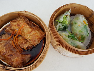 Steamed Bean Curd Rolls and Chinese Coriander Steamed Dumplings at Easy House