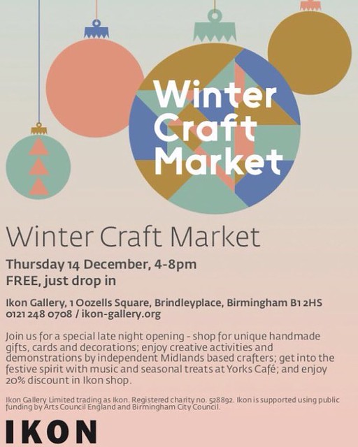 I'll be exhibiting at the @ikongallery #WinterCraftMarket this Thursday with the wonderful @erinpower