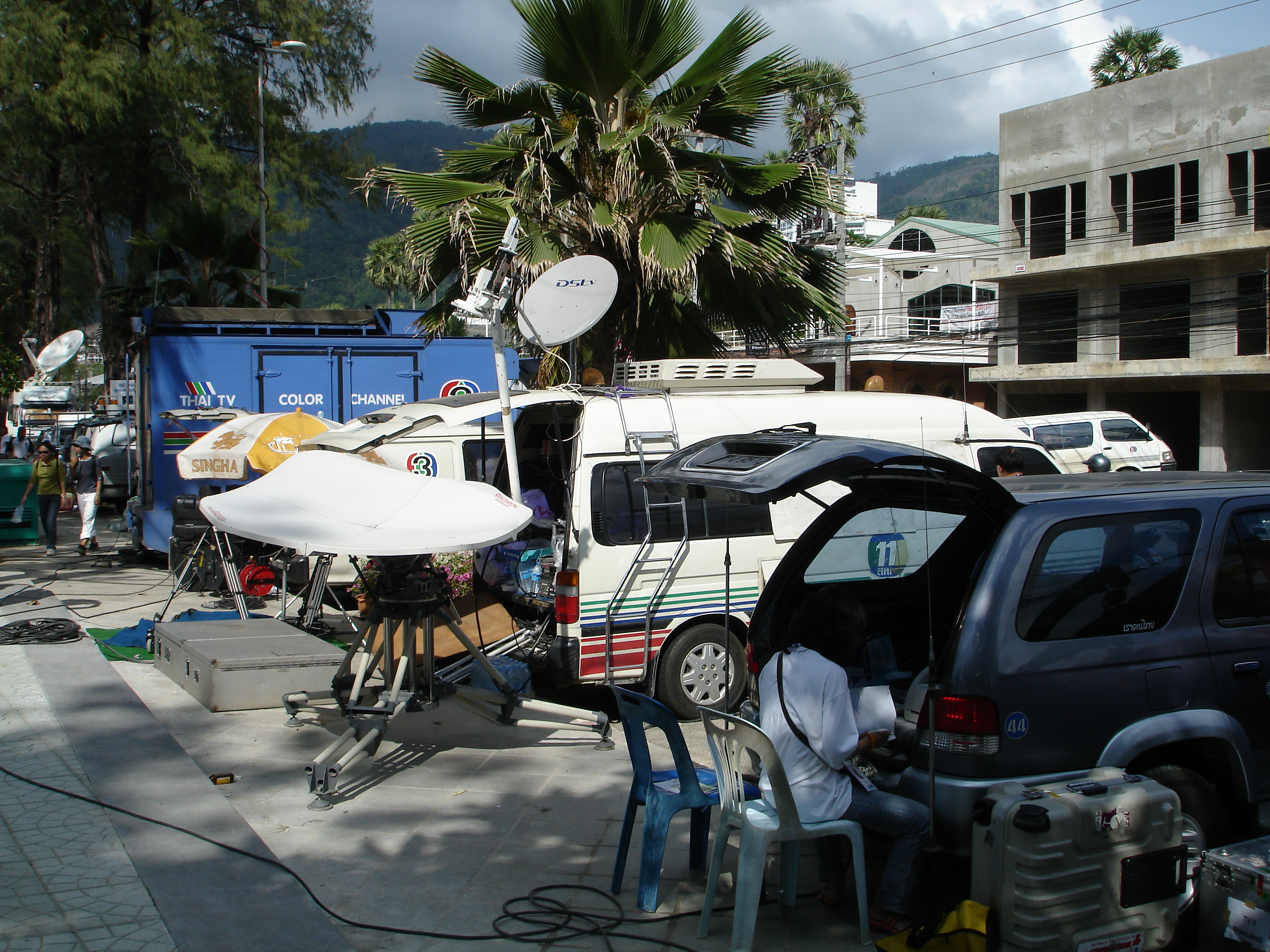 Media coverage in the aftermath of the 2004 Boxing Day tsunami was intense and had yet to diminish even on the first anniversary of the disaster while Phuket, Thailand, still attempted to cleanup and rebuild. Photo taken by Mark Jochim on December 26, 2005.